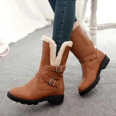 Womens Casual Round Toe Pu Snow Boots