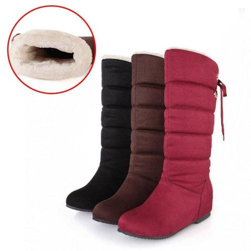Winter Lace-up Back Increase Heel Snow Boots Corduroy Booties