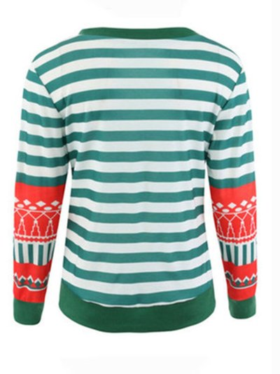 Chirstmas Green Striped Knitted Crew Neck Long Sleeve Sweaters