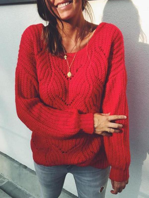 Loose Lantern Sleeve Knitting Red Women Sweater