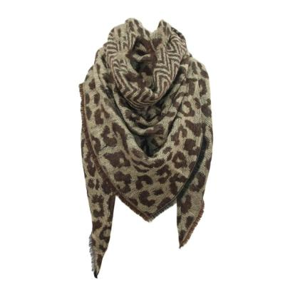 Women Scarf Winter Boho Warm Cashmere Scarf Fashion Leopard Printing Triangle Wrap Long Shawl Scarves