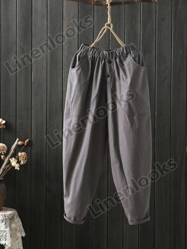 Casual Ankle-length Loose Elastic Waist Solid Color Trousers Pants