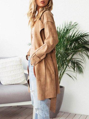 Khaki Elegant Paneled Pu Plain Coat