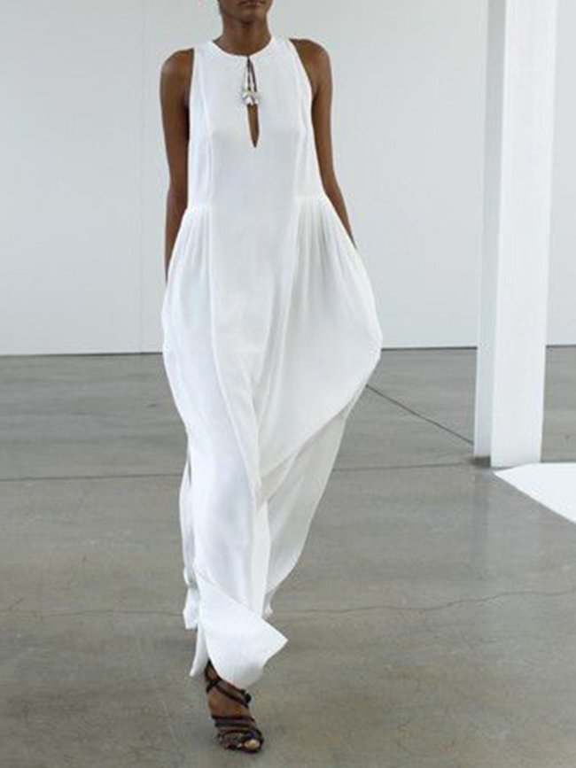 White Sleeveless Holiday Solid Dresses