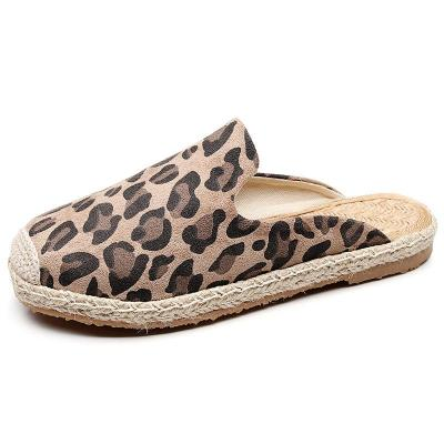 Summer Leopard Women Handmade Canvas Slippers Breathable Comfort Linen Cotton House Home Shoes
