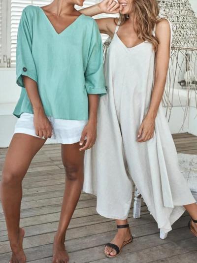 Blue Half Sleeve Paneled Cotton-Blend Shirts & Tops