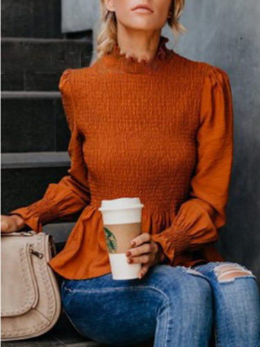 Women's Fashion Solid Chiffon Turtle Neck Solid Shirred Long Sleeve Blouses