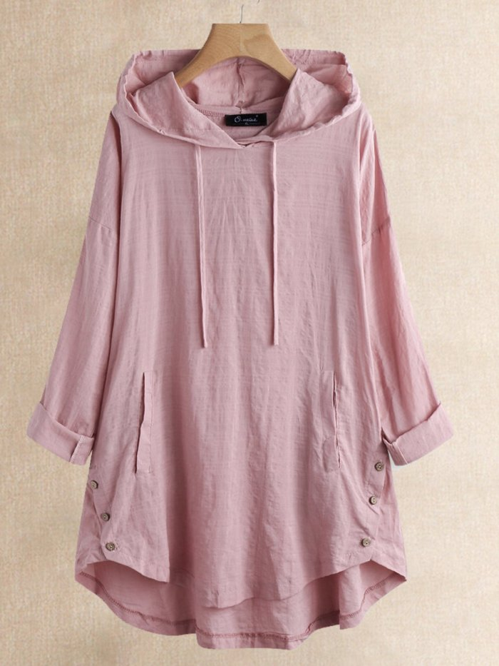 Casual Buttoned Hoodie Shirts & Tops