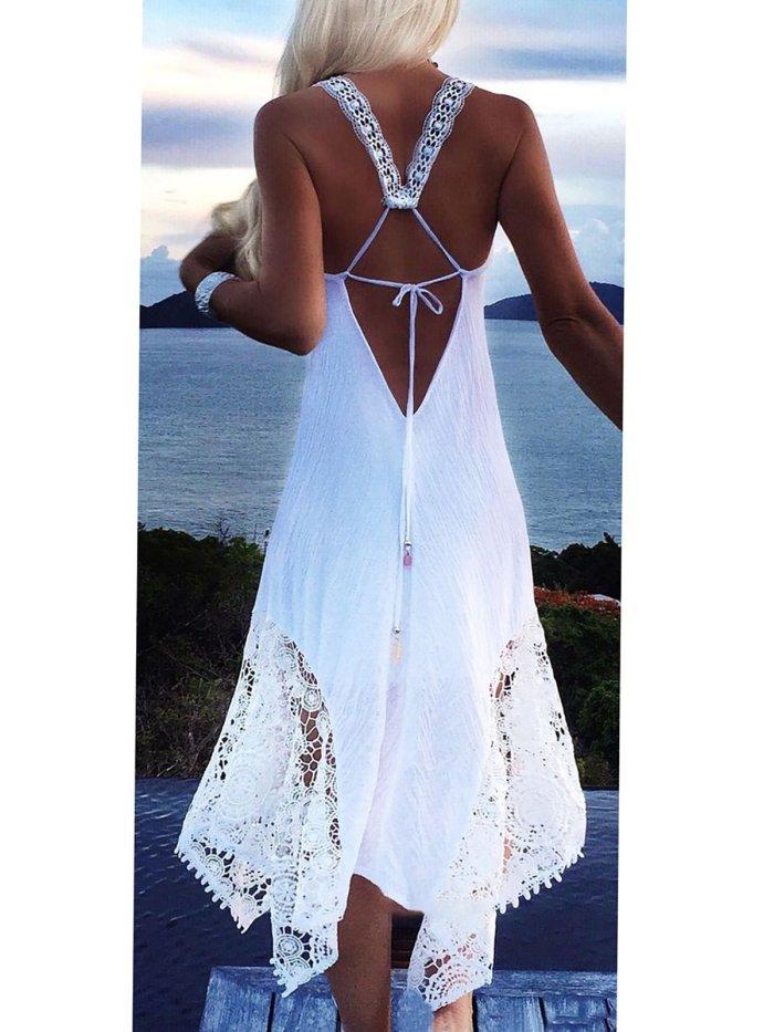 Spandex Basic V Neck Sleeveless Vacation Dress