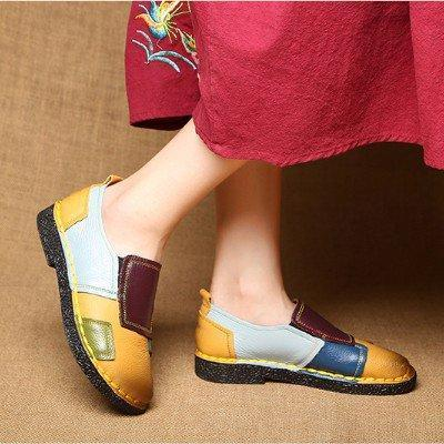Yellow Color Block Spring/Fall Daily Genuine Leather Loafers