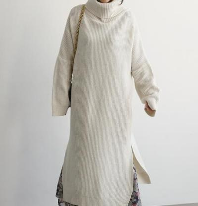 Casual Simple Pure   Color Loose High Collar Knitted Sweater Maxi Dress