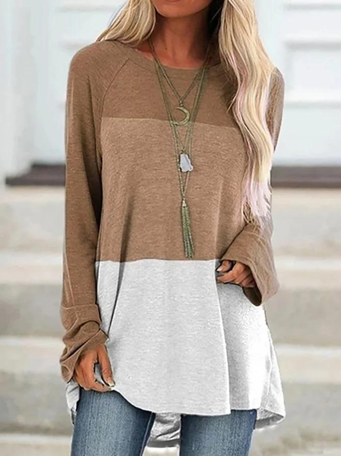Color-Block Long Sleeve Shirts