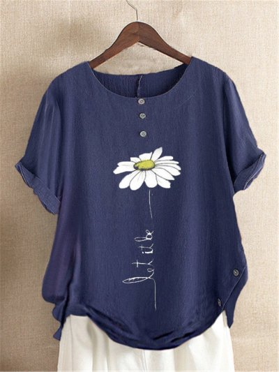 Casual Floral-Print Cotton&Linen Short Sleeve Shirts & Tops