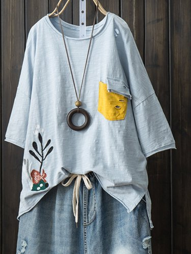Short Sleeve Patchwork Casual Shirts & Tops
