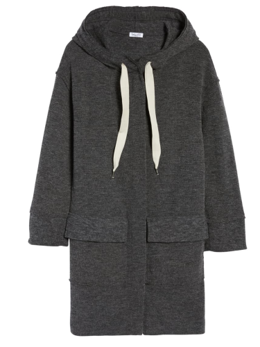 Cotton-Blend Solid Hoodie Casual Outerwear