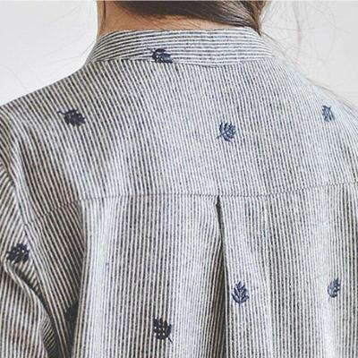 Embroidery Long Sleeve Blouses Casual Blouse