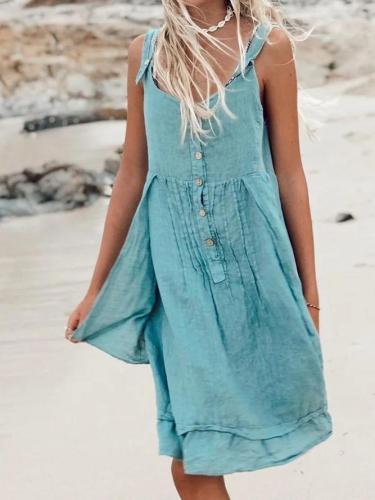 Summer Pierced Holiday Linen Dresses