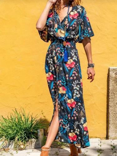 V Neck Floral-Print Half Sleeve Holiday Dresses