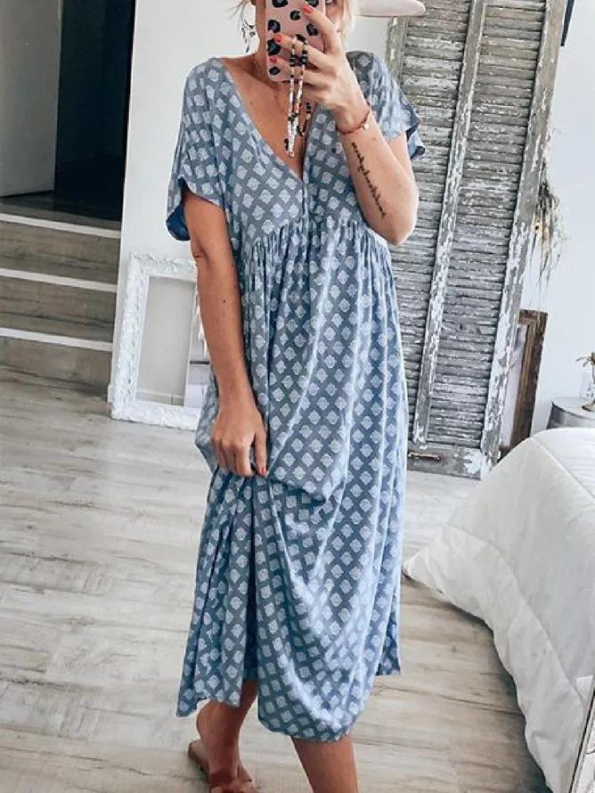 Blue Geometric Casual Floral-Print V Neck Dresses
