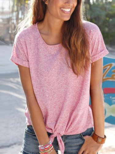 Round Neck Solid Casual Shirts & Tops