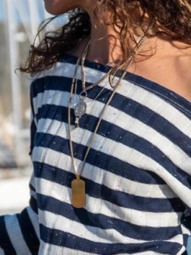 Stripe-Blue Long Sleeve Stripes Shift Cotton-Blend Shirts & Tops
