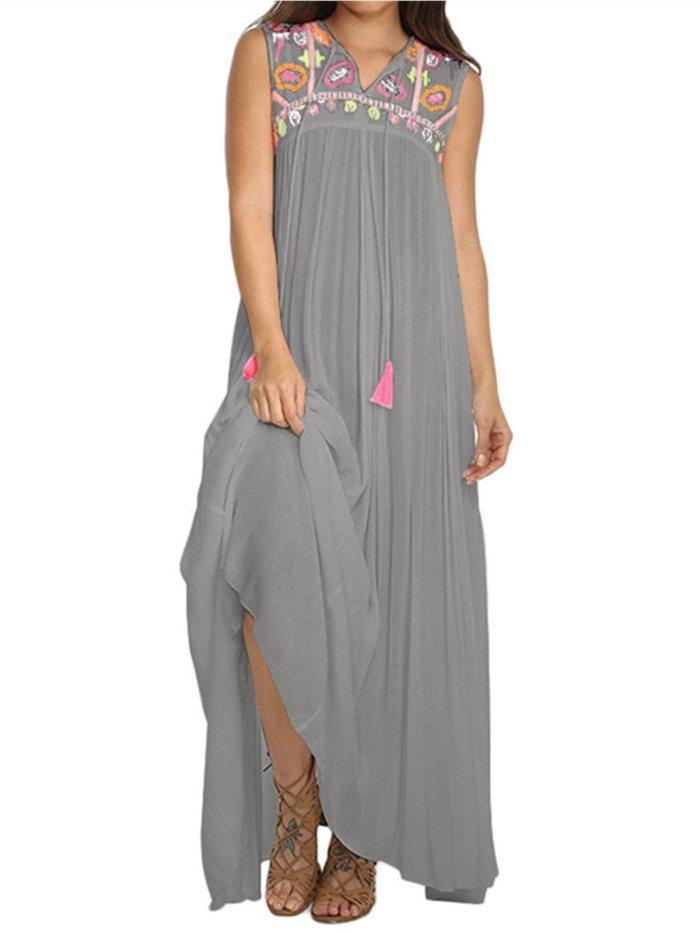 Cotton Sleeveless V Neck Printed/dyed Dresses