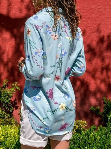 Long Sleeve Floral Printed Elegant Chiffon Shirt Collar Blouse