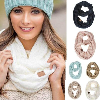Knitted Cable Ring Scarf Women Soft Winter Infinity Scarves Cashmere Neck Circle Scarf