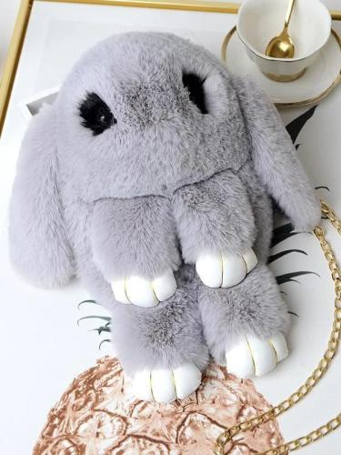 Cute Cartoon Rabbit Crossbody Bag New Plush Female Bag Chain Shoulder Bag Fashion Folder Bag