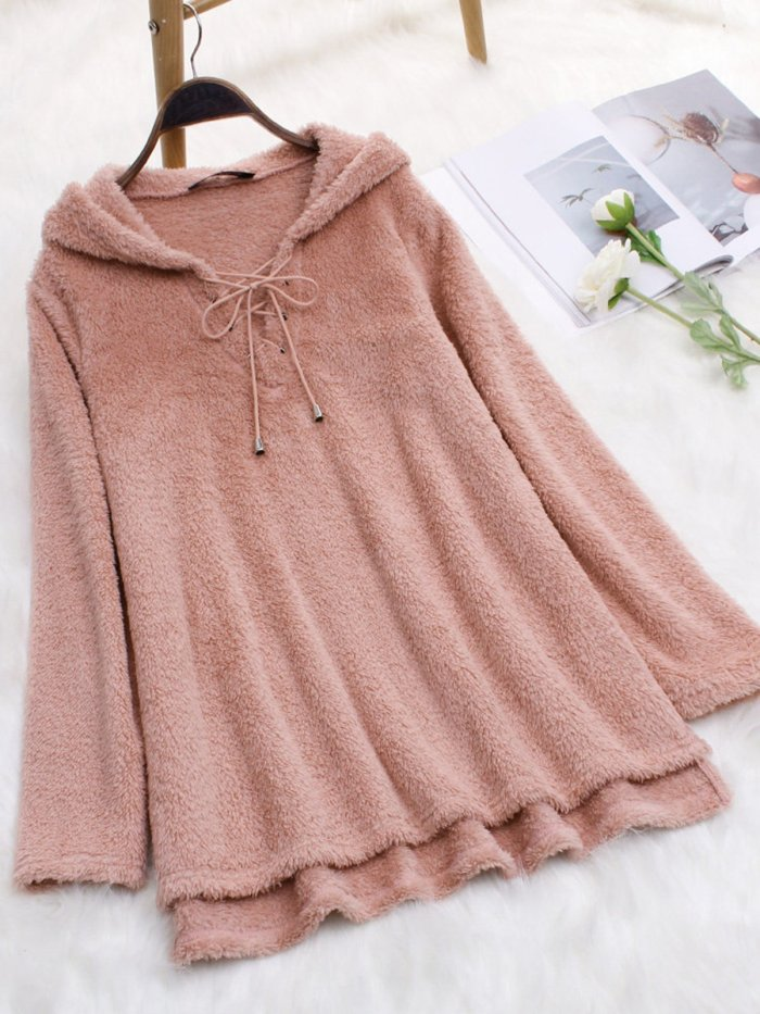 Long Sleeve Solid Cashmere Casual Hoodies