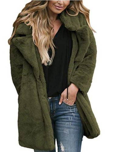 Winter Warm Fuzzy Lapel Collar Pocket Coat