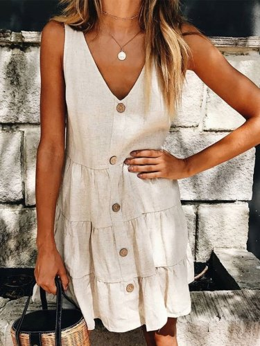 Plus Size Casual Sleeveless Solid  V Neck Dresses
