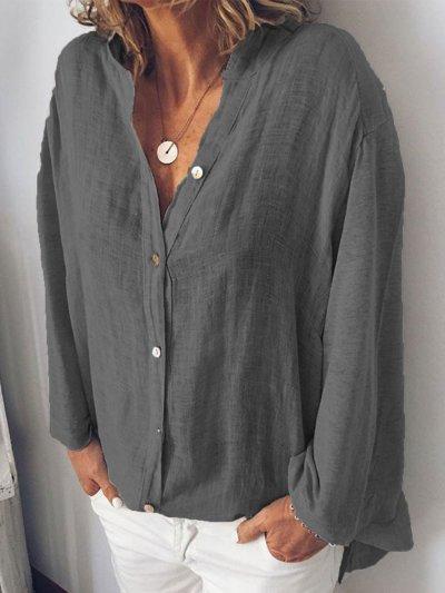 Long Sleeve Casual V Neck T-Shirts