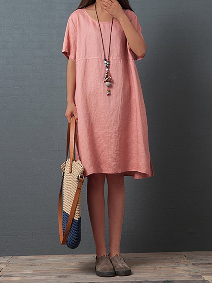 Plus Size Short Sleeve Round Neck Solid Casual  Midi  Dress