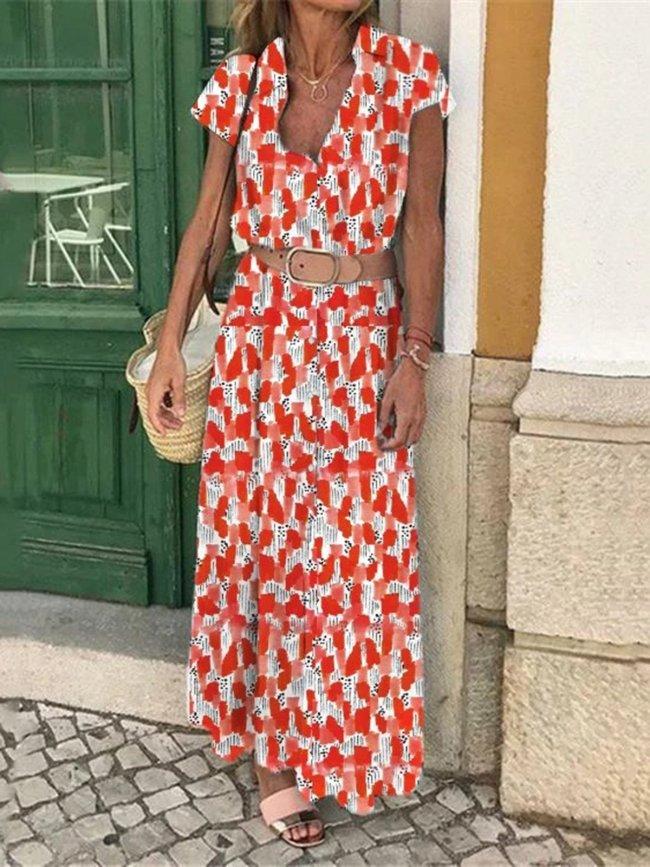 Holiday Printed Casual Maxi Dress