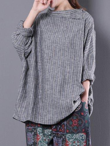 Shawl Collar Stripes Long Sleeve Blouse