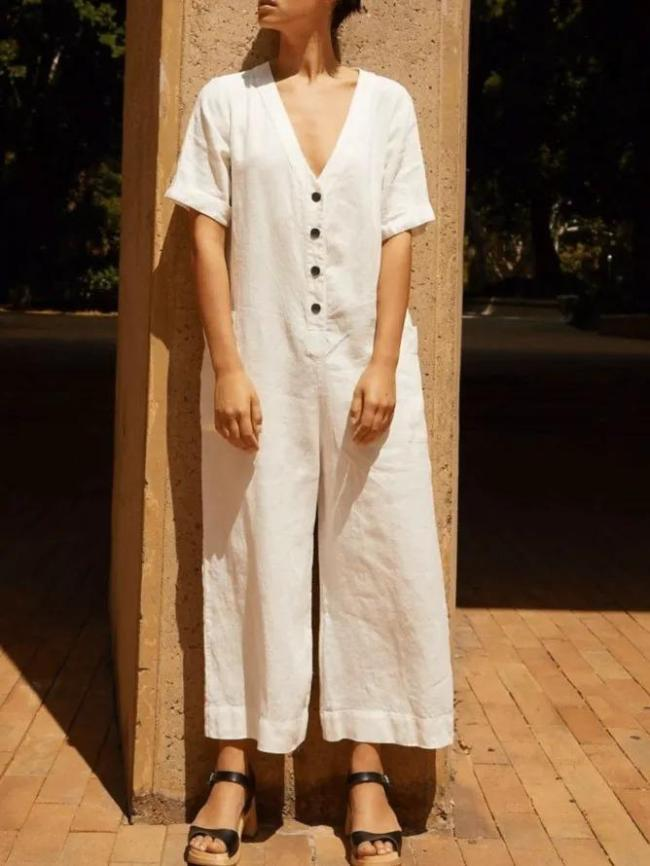 Solid Casual Buttoned V Neck One-Pieces