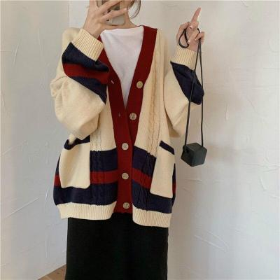 Long Sleeve V Neck Knitted Cardigan Loose plus size Pocket Outwear