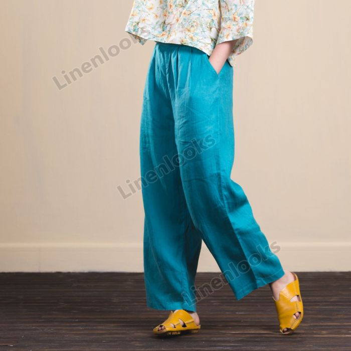 Spring Summer Retro Cotton Linen Female Trousers Loose Casual Pants