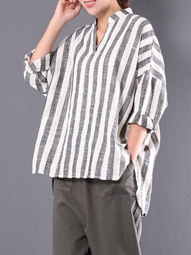 V neck Stripe Striped Casual Linen Blouse