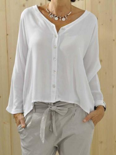 Plus Size Solid Long Sleeve Buttoned  V Neck Shirts & Tops