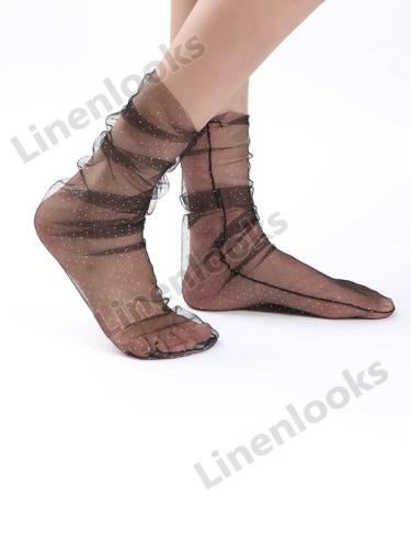 Fashion Star Lace Stockings Transparent Mesh Tulle Ladies Socks