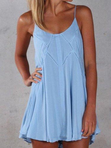 Women Camisole Stretchy Strap Slip Mini Dress