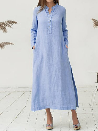 Stand Collar Long Sleeve Casual Paneled Plain Casual Dress