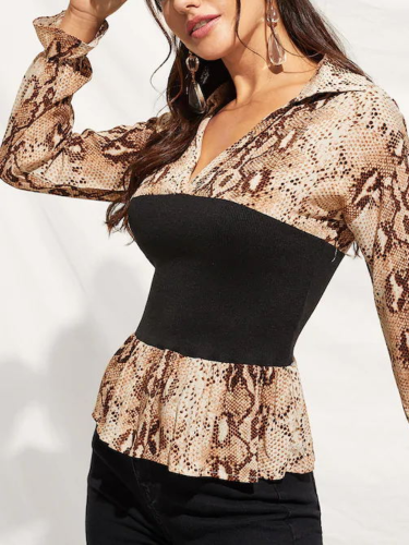 Snakeskin Long Sleeve Lapel Bodycon Appliqued T-Shirts