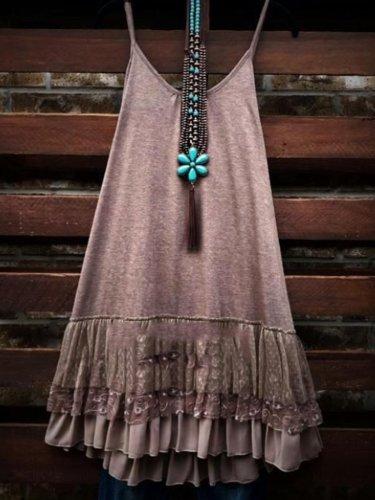 Cotton-Blend Sleeveless Round Neck Shirts & Tops