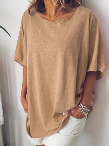 Round Neck Short Sleeve Solid Color Casual T-shirt