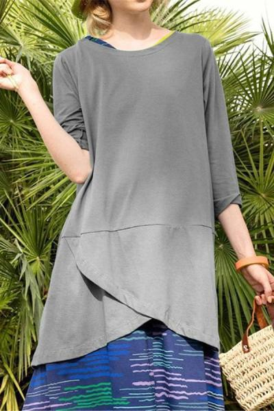 Casual Solid Asymmetric Casual T-shirts