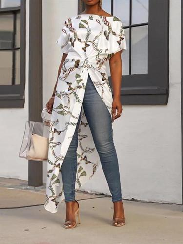 Fashion Printing Short Sleeve Open Fork Long Cardigan