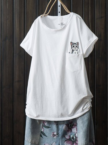 Cotton-Blend Short Sleeve Casual Printed Shirts & Tops